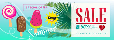 Free Summer Sale Tropical Sale Banner Ice Cream Palm Tree Leaves Sea Beach Vector Stock Photos - 94871183