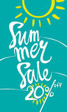 Summer Sale 20%. Turquoise vertical poster with the inscription and the sun Royalty Free Stock Photo