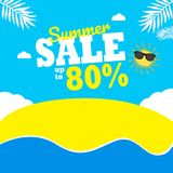 Summer Sale up to 80% background. sun & cloud composition. stock illustration