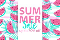 SUMMER SALE up to 70 OFF banner with seamless Watermelon Pattern isolated on hand drawn brush background. Fresh fruits seasonal sales background flat style Stock Illustration
