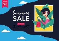 Summer sale. Up to 50% off Big Sale Sidebar Banner, Poster, Sticker, Badge Advertising Promotion with Price Tag Label Element & vector illustration