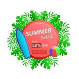 Summer Sale Up To 50% Off Discount with tropical leaves, surfboard and beach ball. stock illustration