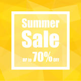 Summer Sale Up to 70% off with polygon abstract background style. design for a shop and sale banners. Royalty Free Stock Photography