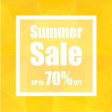 Summer Sale Up to 70% off with polygon abstract background style. design for a shop and sale banners. Royalty Free Stock Photo