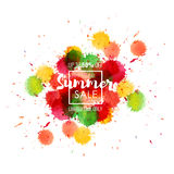 Summer Sale up to 50 percent off. Seasonal discounts. Abstract colorful watercolor banner with hand drawn lettering. Summer Sale up to 50 percent off. Limited Royalty Free Illustration