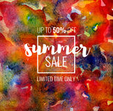 Summer Sale up to 50 percent off. Seasonal discounts. Abstract colorful watercolor banner with hand drawn lettering. Summer Sale up to 50 percent off. Limited Stock Illustration