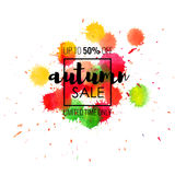 Summer Sale up to 50 percent off. Seasonal discounts. Abstract colorful watercolor banner with hand drawn lettering. Summer Sale up to 50 percent off. Limited Vector Illustration