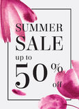 Summer sale up tu 70 per cent off. Watercolor design. Web banner. Or poster for e-commerce, on-line shop, store. EPS 10 Stock Photography