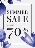 Summer sale up tu 70 per cent off. Watercolor design. Web banner. Or poster for e-commerce, on-line shop, store. EPS 10 Stock Images