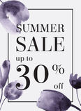 Summer sale up tu 70 per cent off. Watercolor design. Web banner. Or poster for e-commerce, on-line shop, store. EPS 10 royalty free illustration