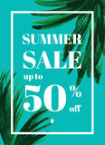 Summer sale up tu 50 per cent off. Web-banner or poster with watercolor palm leaves. EPS 10 vector illustration