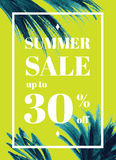 Summer sale up tu 30 per cent off. Web-banner or poster with wat. Ercolor palm leaves. EPS 10 vector illustration