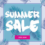 Summer sale up tu 50 per cent off. Web-banner or poster. Summer sale up tu 50 per cent off. Web-banner or poster with watercolor palm leaves. EPS 10 Royalty Free Stock Images