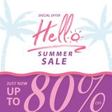 Summer Sale V9 80 percent banner vector heading design for banne. R or poster. Sale and Discounts Concept royalty free illustration