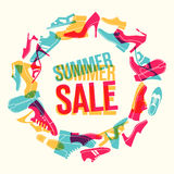 Summer sale. Various men`s and women`s shoes in the shape of a circle. Vector illustration Stock Photo