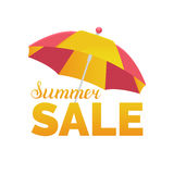 Summer sale vector background. Season discount illustration. Special offer banner with sun umbrella. Royalty Free Stock Photos