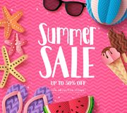 Summer sale vector background template with paper cut beach elements. And sale text in pink pattern background for summer seasonal discount promotion. Vector Stock Photos