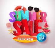 Summer sale vector banner design with colorful 3D sale text and beach elements. In white background for summer holiday discount promotion. Vector illustration Stock Photos