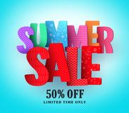 Summer sale vector banner design with colorful sale and discount text Stock Photos