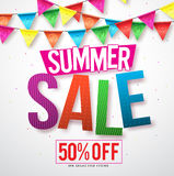 Summer sale vector banner design with colorful streamers hanging stock illustration