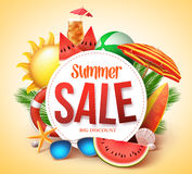 Summer sale vector banner design for promotion with colorful beach elements vector illustration