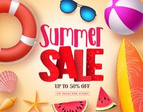 Summer sale vector banner design with red 3D sale text and colorful beach elements. In yellow pattern background for summer seasonal discount promotion. Vector Stock Photo