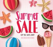 Summer sale vector banner design with sale text and beach paper cut colorful elements. In white pattern background for summer seasonal discount promotion Royalty Free Stock Images