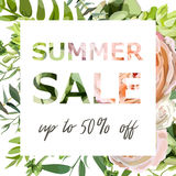 Summer sale vector banner, poster background with pink garden rose flowers, eucalyptus succulent, greenery herb mix. Elegant Royalty Free Stock Photography