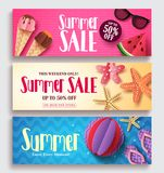 Summer sale vector banner set with colorful pattern background. And paper cut beach elements. Seasonal template set for discount promotion vector illustration stock illustration