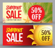 Summer sale vector banner set of designs with 50% discount. For summer holiday shopping promotion with sun and palm leaves background. Vector illustration Stock Photo