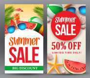 Summer sale vector banner set designs with 50% off discount Royalty Free Stock Photography