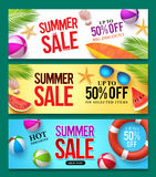Summer sale vector banner set with 50% off discount text and summer elements. In colorful backgrounds for web shopping promotions. Vector illustration Stock Illustration