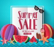 Summer sale vector banner template with white space for text. And colorful paper cut beach elements for summer seasonal discount promotion. Vector illustration stock illustration