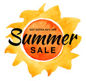 Summer sale vector banner with watercolor sun isolated on white background. Yellow sun with realistic watercolor texture Royalty Free Stock Photography