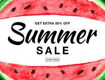 Summer sale vector banner with watercolor watermelon isolated on white background. Stock Images