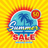 Summer sale - vector concept banner illustration in flat style. Special offer creative badge layout with palms, sea wave, sun. Stock Photography