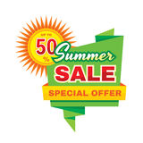 Summer sale - vector concept banner illustration in origami style on white background. Discount up to 50%. Special offer creative Stock Photo
