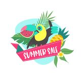 Summer sale. Bright colorful advertising poster. Illustration in vector illustration