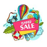 Summer sale. Bright colorful advertising poster. Illustration in stock illustration