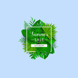 Summer sale. Vector illustration. Summer banner with 3d hawaiian leaf on blue background. Floral banner with border. Summer tropical leaves Royalty Free Stock Images