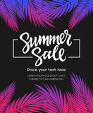 Summer Sale - vector leaflet template with brush lettering. Summer Sale - vector leaflet, brochure, flyer, banner, poster template with hand drawn brush pen Royalty Free Stock Photography