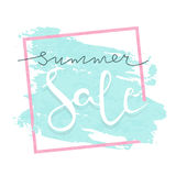 Summer sale vector lettering illustration for banners. Summer sale calligraphy background. Summer sale typography poster. Good for banners, covers, card, web Stock Image