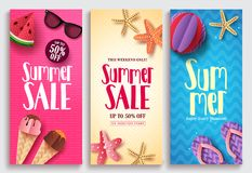 Summer sale vector poster design set with sale text and beach paper cut elements. In colorful pattern backgrounds for summer seasonal discount promotion. Vector Stock Photo