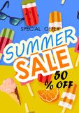 Summer sale vector poster with 50% off discount text and summer elements in colorful backgrounds. Vector illustration vector illustration