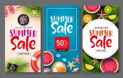 Summer sale vector poster set. Summer sale discount text with beach elements like tropical fruits and beach ball. In for seasonal promotion. Vector illustration stock illustration