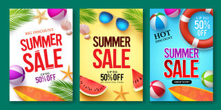 Summer sale vector poster set with 50% off discount text and summer elements royalty free illustration