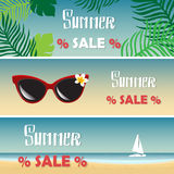 Summer Sale. Vector Set of tropical banners. Stock Photo
