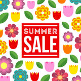 Summer Sale. Vector summer concept with flower background. Royalty Free Stock Photography