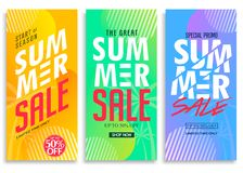 Summer Sale Vertical Pull Up Banner Set with Bright Vivid Gradient Background. Patterns, Stylish Texts and Logo Up to 50% Off Creative Vector Design Template royalty free illustration