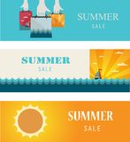 Summer Sale . Vintage banners/cards. Stock Image